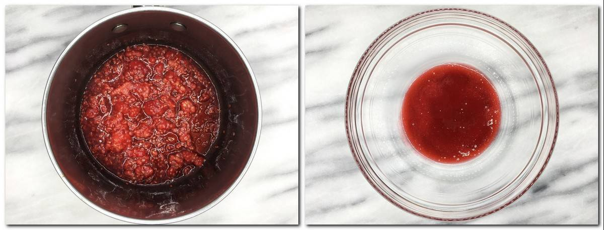 Photo 5: Cooked raspberries in a saucepan Photo 6: Raspberry sauce in a glass bowl