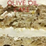 A slice of Apple and Olive Oil Cake: Closeup