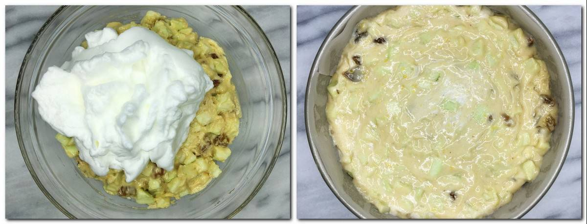 Photo 5: Egg whites on top of the batter Photo 6: Cake batter in a pan