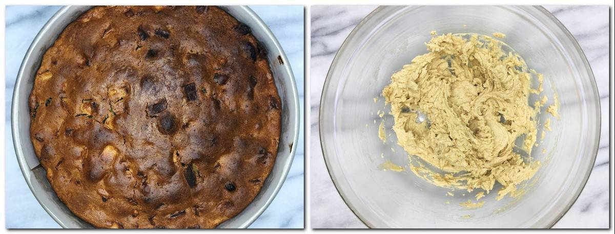 Photo 7: Baked cake in a pan Photo 8: Butter mixture in a glass bowl