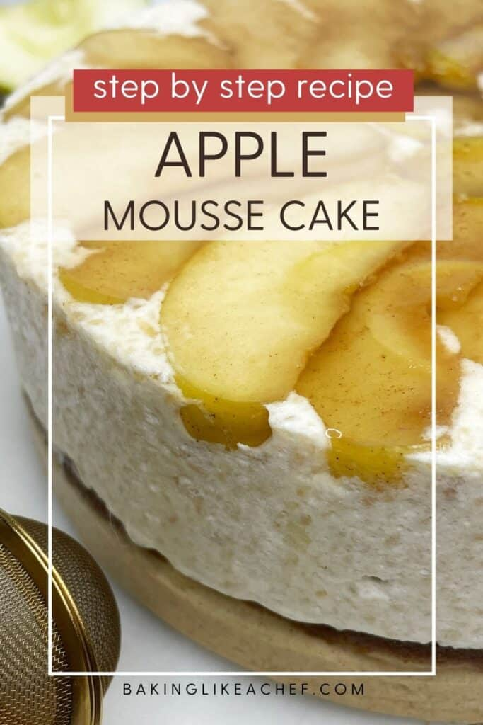 Apple cake with caramelized apples on top and a powdered sugar duster: Pin with text