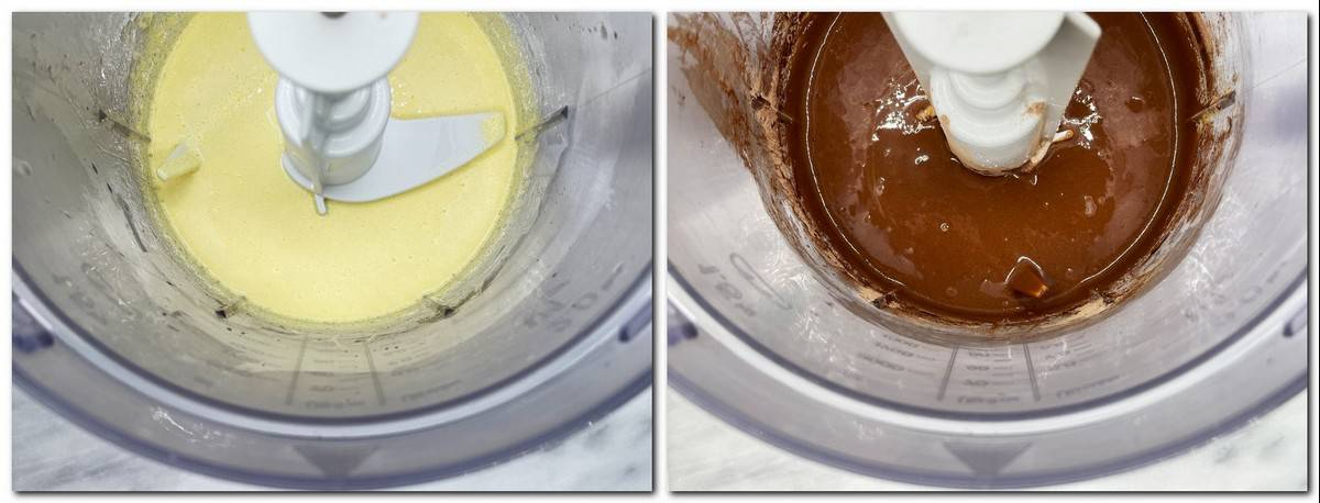 Photo 1: Egg yolks/sugar mixture in a bowl Photo 2: Chocolate mixture in a bowl