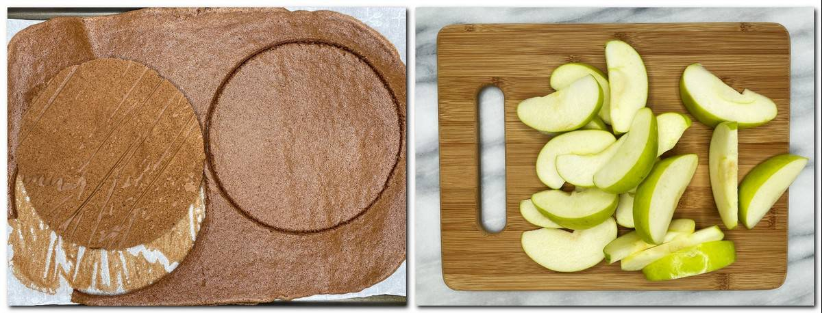 Photo 5: Two biscuit disks on parchment paper Photo 6: Apple slices on a wooden board