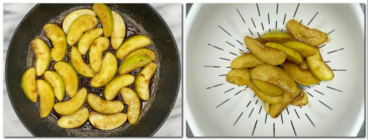 Photo 7: Caramelized apples in a pan Photo 8: Apple slices in a white colander