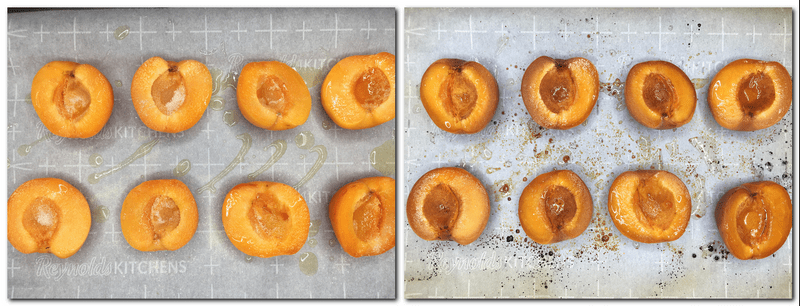 Photo 1: Apricots with sugar and olive oil on parchment Photo 2: Roasted apricots on parchment