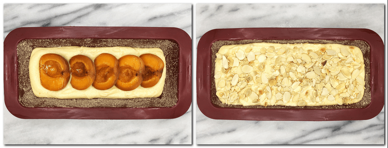 Photo 7: Cake batter and fruits in a cake loaf pan Photo 8: Cake batter sprinkled with flaked almonds in a pan
