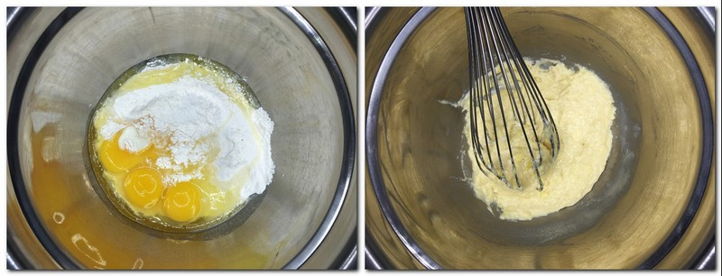 Photo 1: Flour and eggs in a metal bowl Photo 2: Flour/eggs mixture with a hand whisk in a bowl
