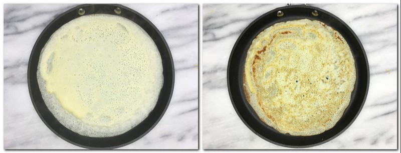 Photo 5: Poured batter into a crepe pan Photo 6: Flipped crepe in a pan