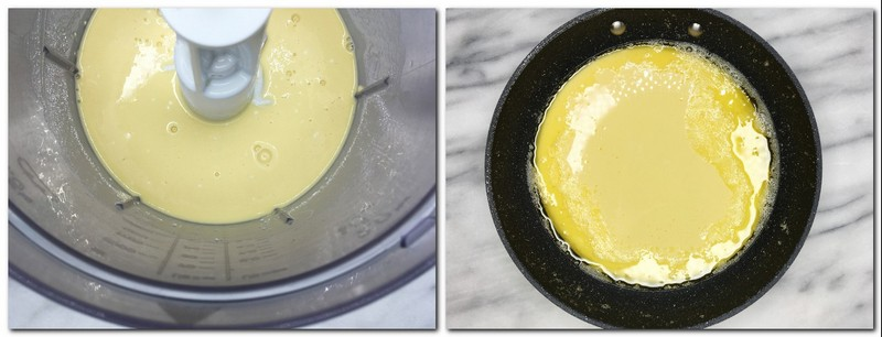 Photo 1: Ready batter in the bowl of a food processor Photo 2: Batter poured on top of the melted butter in a skillet