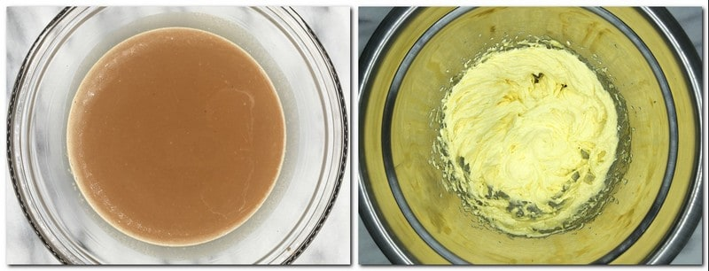 Photo 1: Whipping cream/chocolate mixture in a glass bowl Photo 2: Butter/sugar/eggs mixture in a metal bowl