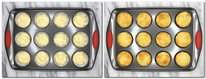 Photo 5: Batter in cupcake molds Photo 6: Baked cupcakes in a pan