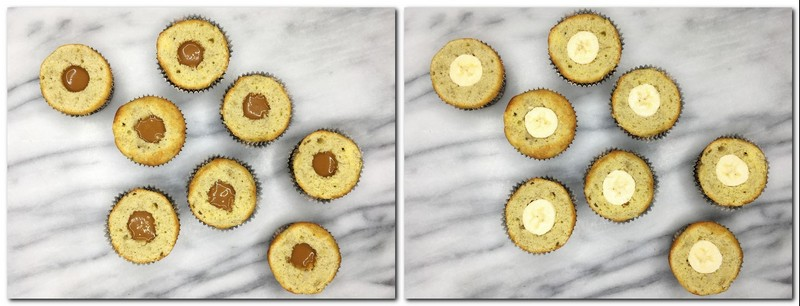 Photo 7: Cakes filled with dulce de leche Photo 8: Cakes covered with slices of banana