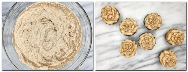 Photo 9: Ready chocolate whipped cream in a glass bowl Photo 10: Piped cupcakes on a marble board