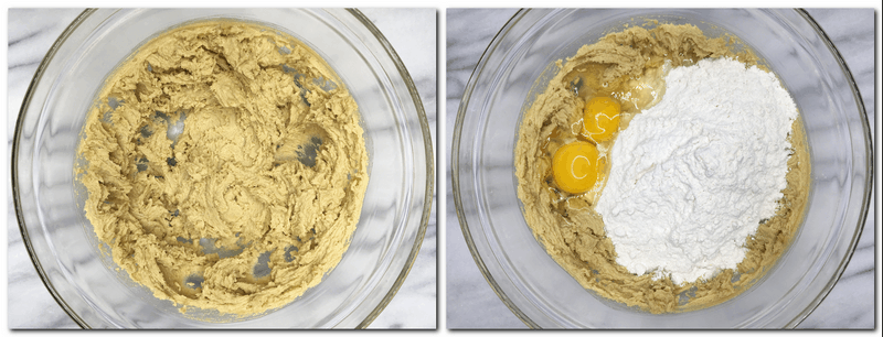 Photo 1: Butter/brown sugar mixture in a bowl Photo 2: Flower, baking powder and eggs on top of the butter/sugar mixture