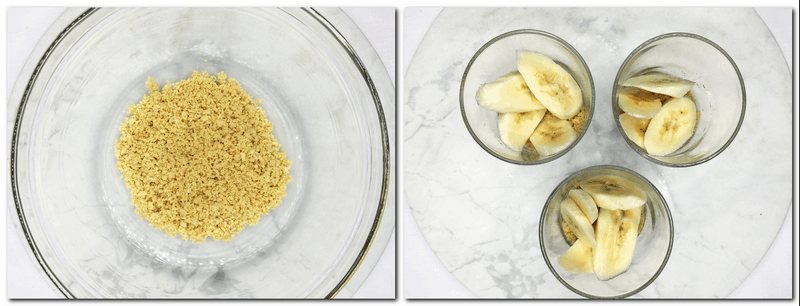Photo 1: Cookie crumbs in a glass bowl Photo 2: Three glasses with cookie crumbs, sliced bananas on a marble board