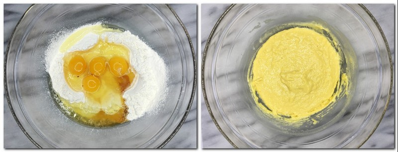 Photo 1: Flour with eggs and flavorings in a glass bowl Photo 2: Flour/eggs/flavorings mixture in a bowl