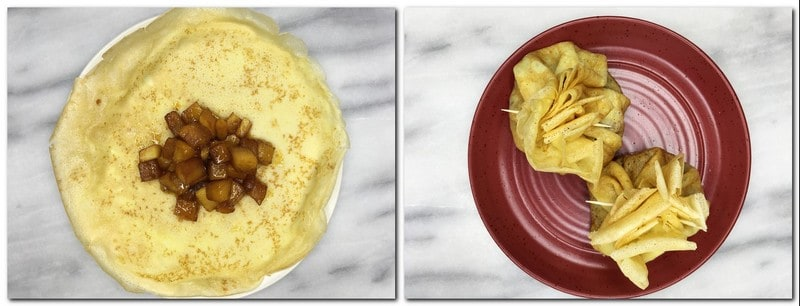 Photo 11: Caramelized apples in the center of a crepe Photo 12: Two crepe purses tied with toothpicks on a red plate