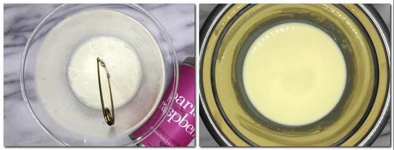 Photo 1: Tea strainer in a bowl with cream Photo 2: Cream mixture in a bowl