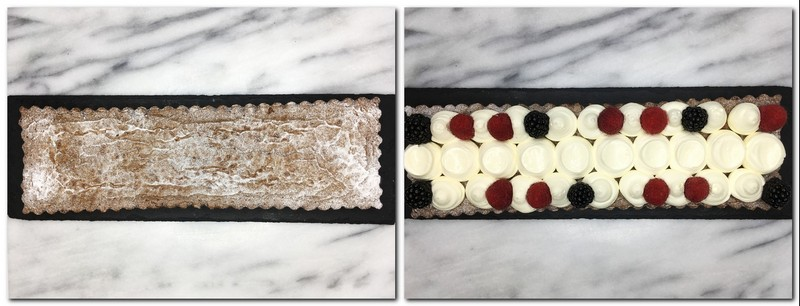 Photo 7: Cake with icing sugar on a board Photo 8: Served brownies with cream, berries