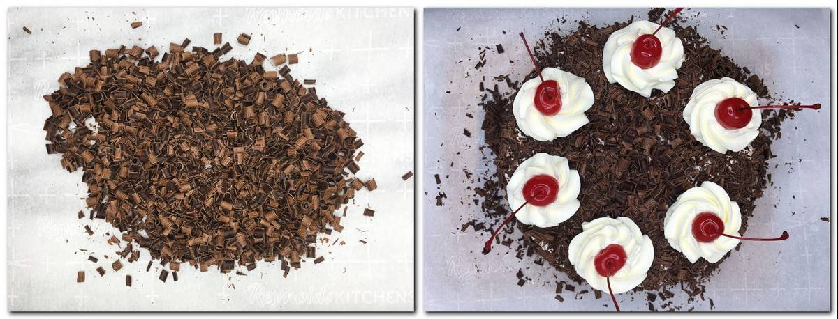 Photo 9: Chocolate shavings on parchment Photo 10: Decorated Black Forest cake on parchment
