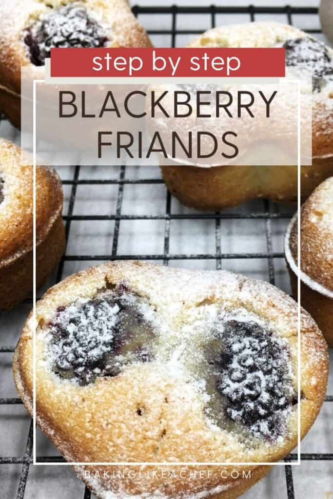 A batch of blackberry friands on a wire rack: Pin with text