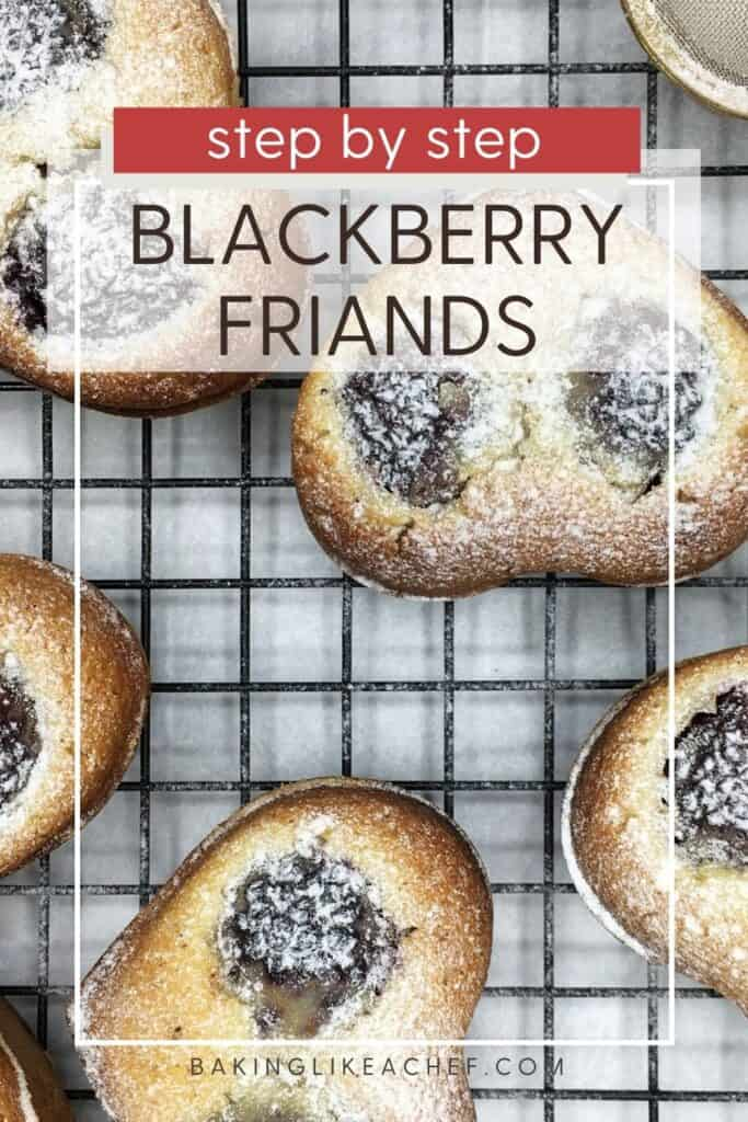 Baked friands with a tea mesh strainer on a wire rack: Pin with text