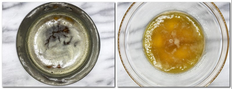 Photo 1: Brown butter in a saucepan Photo 2: Drained brown butter in a glass bowl