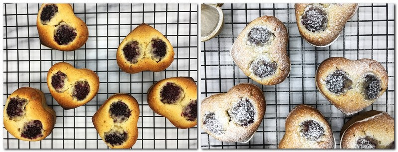 Photo 7: Baked friands on a rack Photo 8: Cakes with icing sugar on a rack