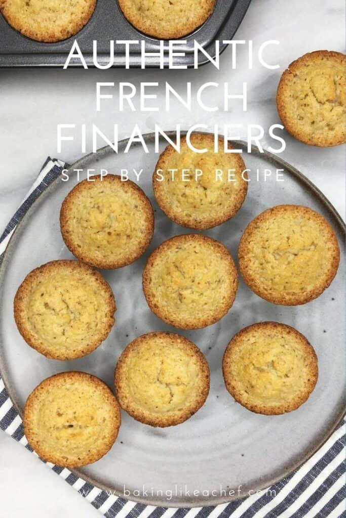 A few French financiers on a grey plate with a cake mold, a single financier and a tea towel on background: Pin with text