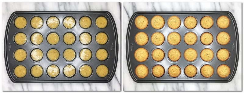 Photo 5: Cake butter in a mold Photo 6: Baked financiers in a pan