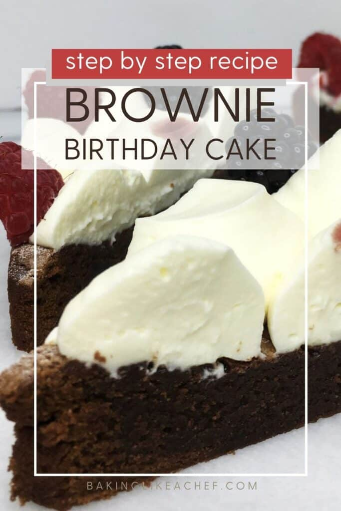 A couple of brownies decorated with cream and fruits on a marble board: Pin with text