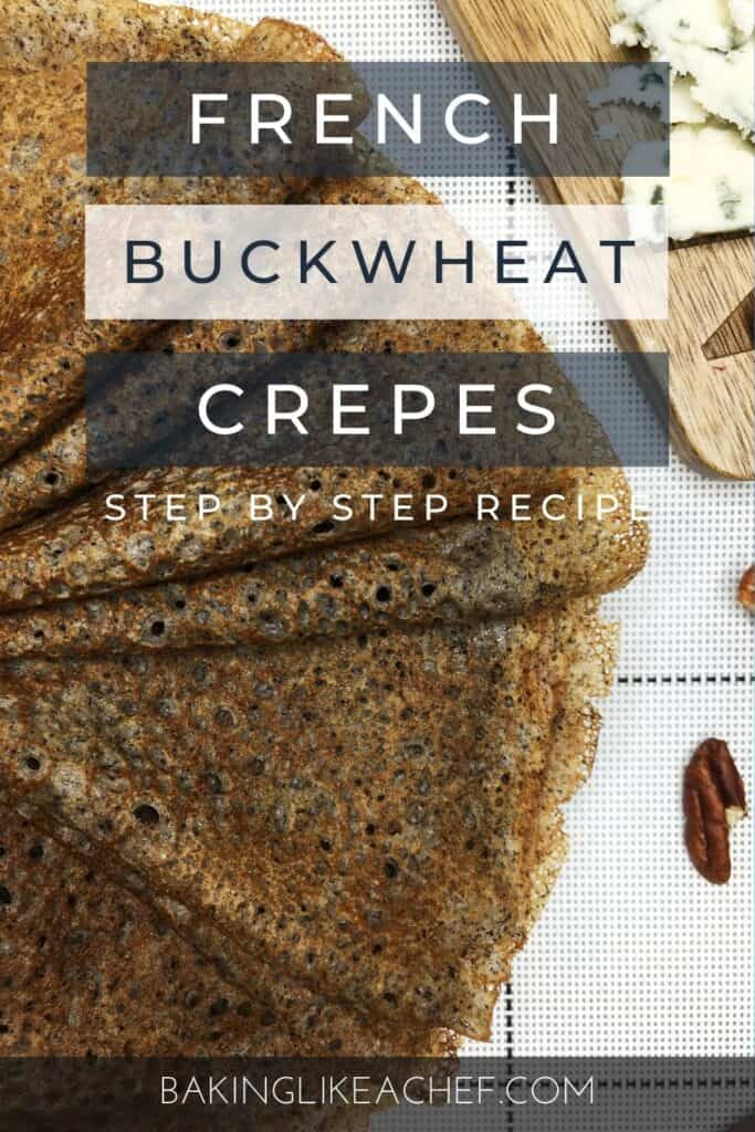 A batch of buckwheat crepes with pecans and blue cheese on a board: Pin with text
