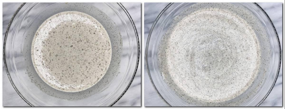 Photo 1: Flour/egg yolks/milk mixture in a glass bowl Photo 2: Ready batter