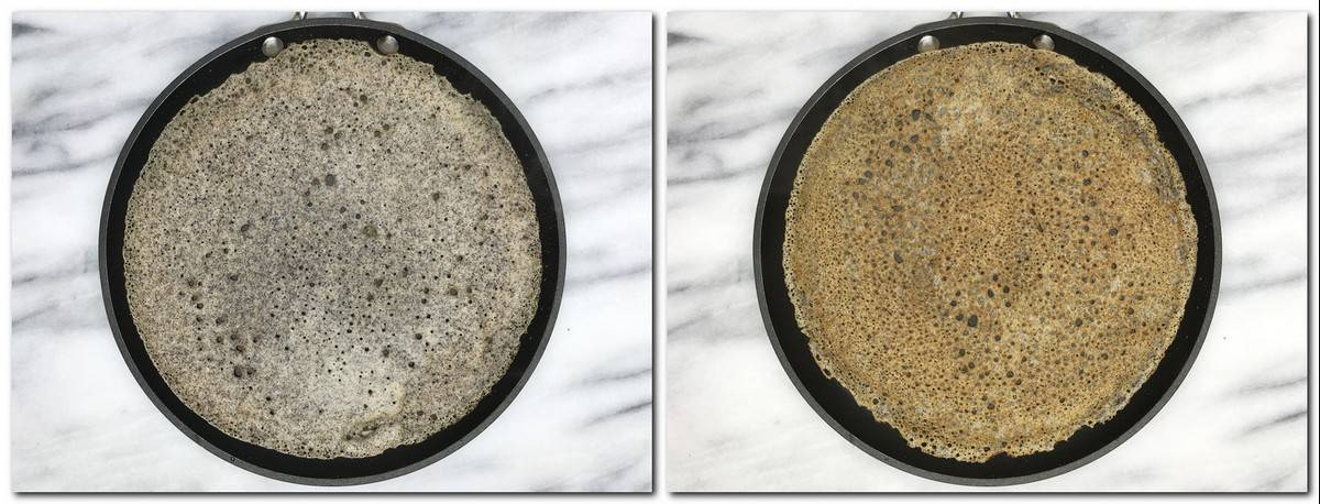 Photo 3: Poured batter in a pan Photo 4: Flipped galette in a pan
