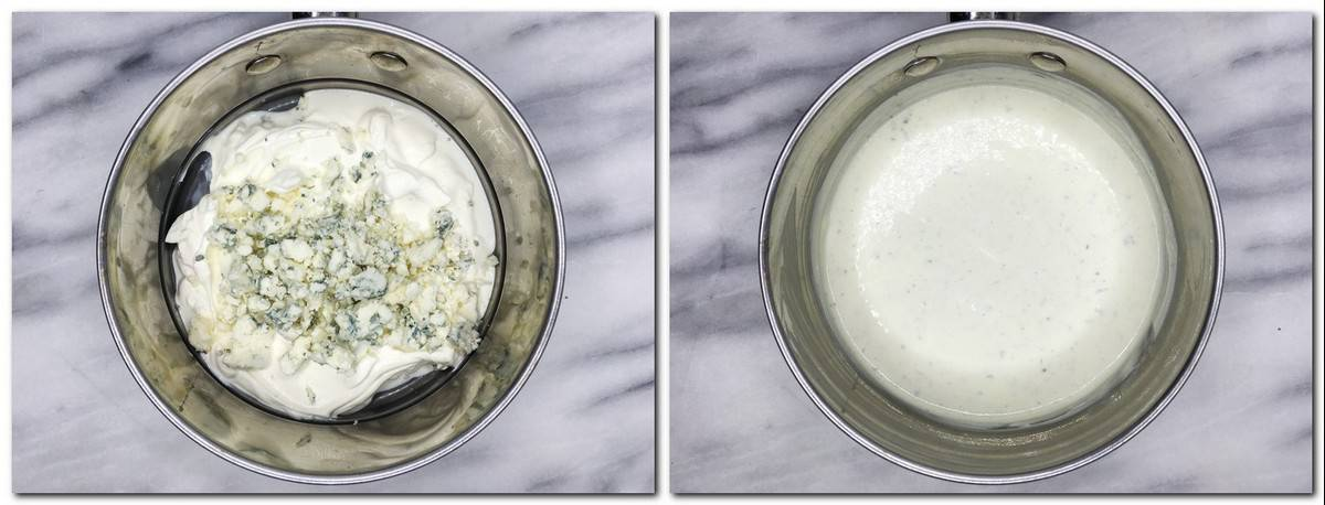 Photo 5: Blue cheese and sour cream in a saucepan Photo 6: Filling in a pan