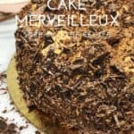 French Meringue Cake Merveilleux on a cake round with chocolate shavings and a cup on background