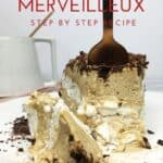 A slice of the cake Merveilleux with a fork up and a cup on background