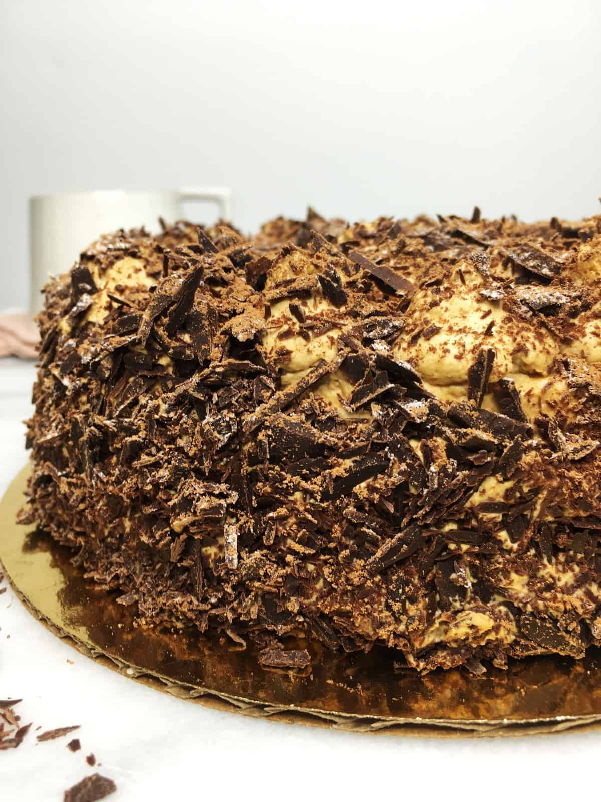 French Meringue Cake Merveilleux covered with chocolate shavings: Close up