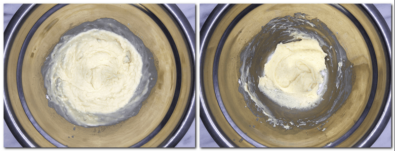 """Photo 1: Cooked milk/butter/flour mixture in a bowl Photo 2: """"Dried"""" mixture in a bowl"""