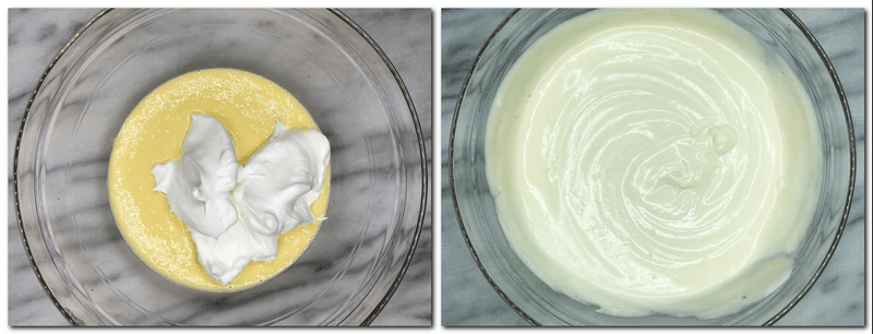 Photo 5: Beaten egg whites are on top of the main preparation in a bowl Photo 6: Ready biscuit dough in a bowl