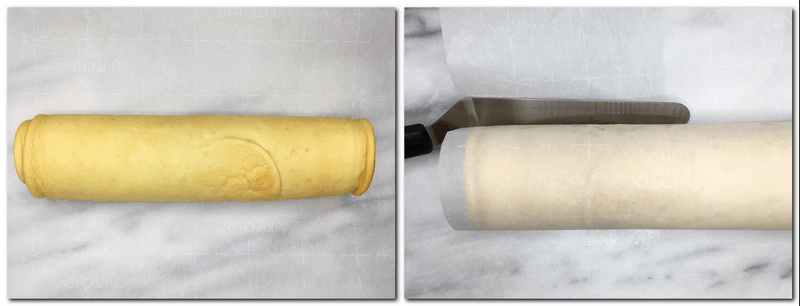 Photo 9: Rolled Caked on the parchment Photo 10: Cake Roll covered with the parchment and squeezed with a bent spatula