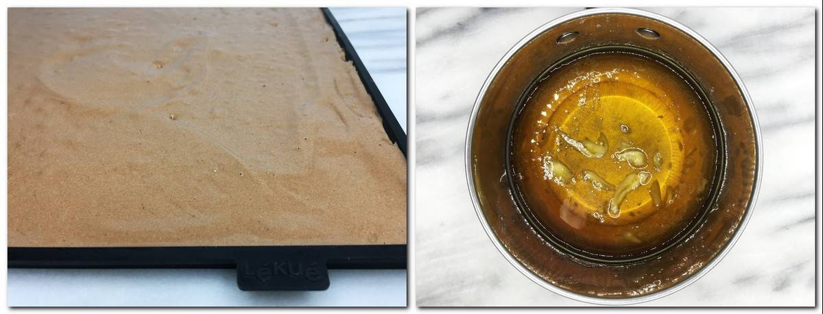 Photo 3: Biscuit dough on a baking sheet Photo 4: Caramel in a saucepan