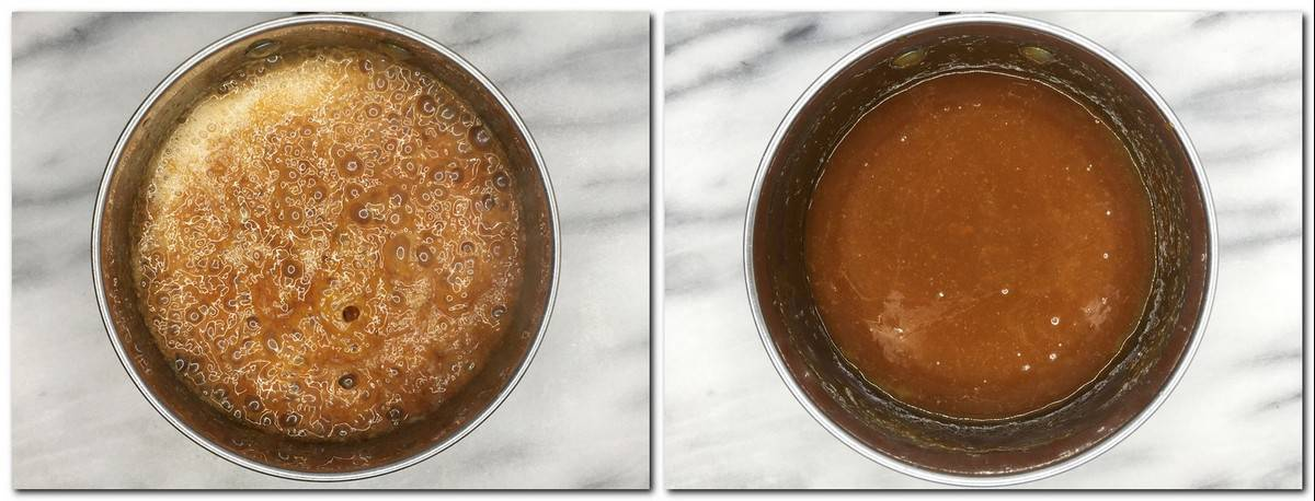Photo 5: Boiling caramel in a saucepan Photo 6: Salted caramel in a pan