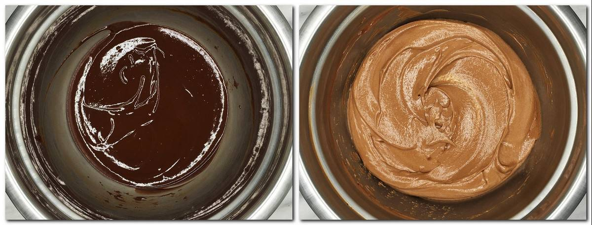 Photo 7: Chocolate mixture in a metal bowl Photo 8: Chocolate caramel mousse in a bowl