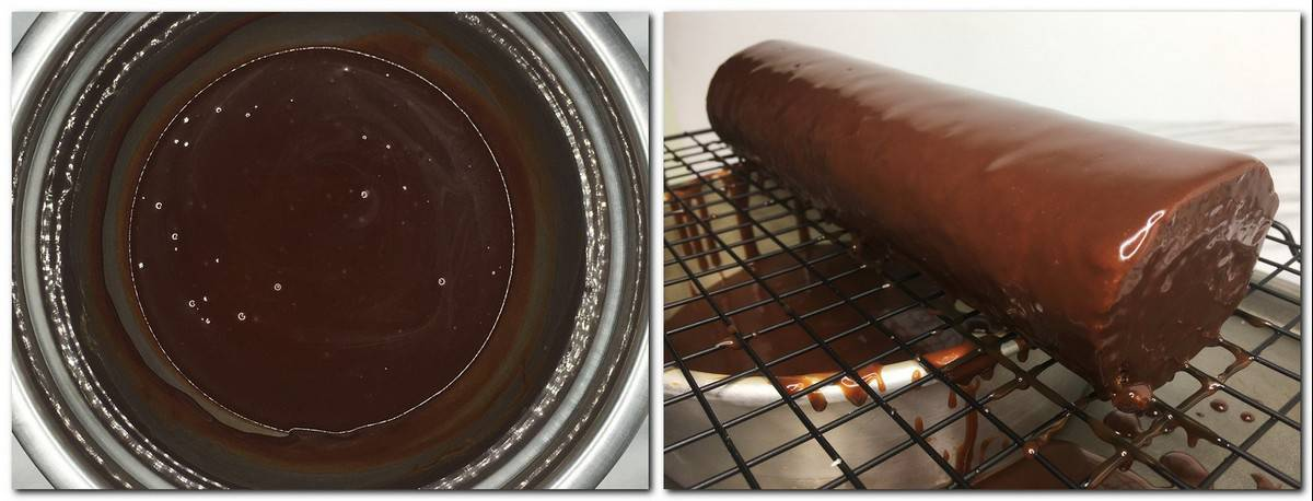 Photo 11: Caramel glaze in a bowl Photo 12: Glazed roll cake on a wire rack