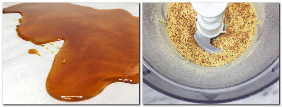 Photo 5: Caramel poured onto parchment paper Photo 6: Crushed caramel in the bowl of a food processor