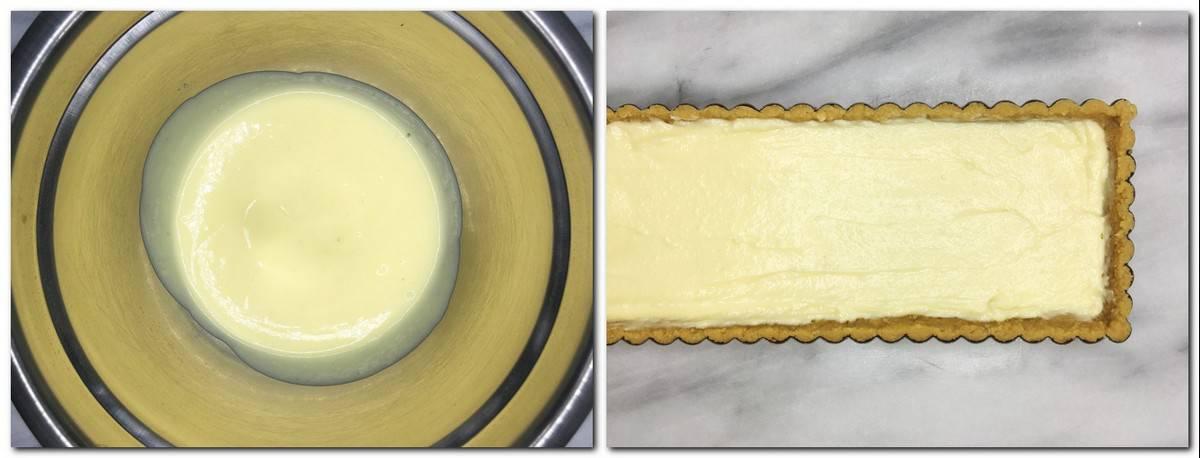 Photo 11: Ready vanilla cream in a metal bowl Photo 12: Tart crust filled with vanilla cream