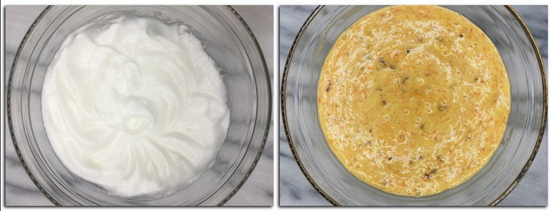 Photo 3: Beaten egg whites in a glass bowl Photo 4: Ready cake batter in a bowl