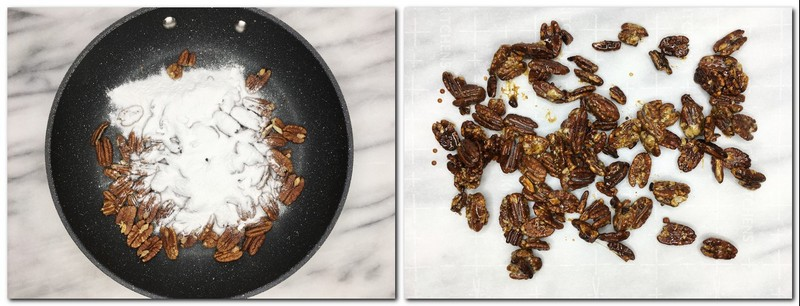Photo 7: Pecans with icing sugar in a pan Photo 8: Caramelized pecans on parchment paper