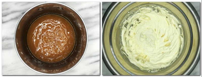 Photo 9: Caramel in a saucepan Photo 10: Cream cheese frosting in a metal bowl